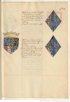 Coat of arms of Charles, Duke of Burgundy and of Catherine of France and Isabella of Bourbon. Receuil de la généalogie de la noble maison de Luxembourg.
