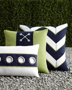 Navy White Outdoor Pillows Elaine Smith- would be nice for a beach themed room too !