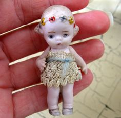Antique German Bisque Hertwig Doll 2 1/8 by Somethingcharming, $40.00
