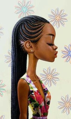 Afro hair is typically associated with natural curls that have a thick, frizzy texture. Such a distinctive type of hair might seem hard to manage, but this has not stopped African beauties from spo… Black Girl Art, Black Women Art, Art Girl, Black Girls, Ghana Braids, African Braids, Box Braids, Braids Cornrows, Braids Ideas