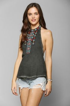 Ecote Desert Sunset Beaded Halter Top from Urban Outfitters on shop.CatalogSpree.com, your personal digital mall.