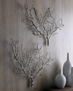 Tree branch wall sculptures, from Neiman Marcus Diy Wand, Metal Tree Wall Art, Diy Wall Art, Wall Wood, Metal Art, Stick Wall Art, Metal Wall Decor, Wall Décor, Wall Art Decor
