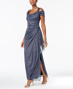 Alex Evenings Cold-Shoulder Draped Metallic Gown | macys.com