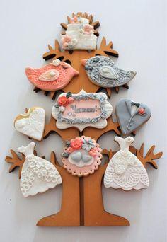 Wedding cookies in coral and grey - cookie by Eleonora Nestorova