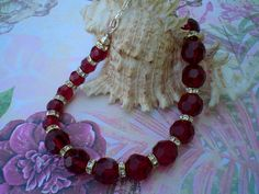 Red Bead and Crystal Necklace; Handmade, High Fashion Crystal Bead Necklace by JazzyDazzleJewelry on Etsy