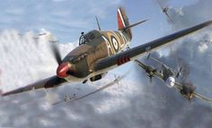 Bf 110s suffering in combat with Hurricanes.