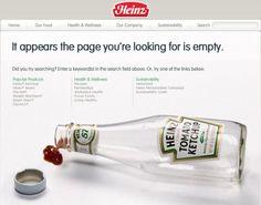 De error 404 pagina van Heinz doet wat ze moet doen