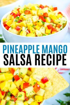 Easy fresh and flavorful Pineapple Mango Salsa Serve with tortilla chips or with grilled chicken fish tacos and Mango Pineapple Salsa, Fruit Salsa, Mango Salsa For Fish, Mango Salsa Chicken, Salsa Salsa, Corn Salsa, Salsa Verde, Best Nutrition Food, Health And Nutrition