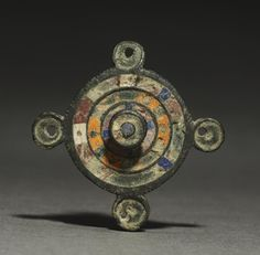 Ornamental Brooch. Gallo-Roman or Romano-British, Migration period, 2nd-3rd century, bronze and champlevé enamel. Cleveland Museum of Art