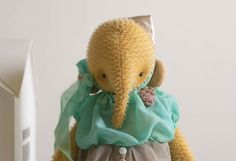 Stuffed Animal Elephant Denis - Yellow Elephant Soft Toy Mohair - Artist Teddy Bears - Stuffed Elephant on Etsy, $249.00