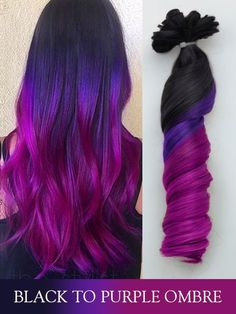 Black to Purple Colorful Ombre Indian Remy Clip in Hair Extensions,Balayage Exte… Black to Purple Colorful Ombre Indian Remy Clip in Hair Extensions,Balayage Extensions,Dip Dye Hair,Full set by LolitaQueenHair on Etsy Black Purple Ombre, Brown Ombre Hair, Ombre Hair Color, Colored Hair Extensions, Clip In Hair Extensions, Balayage Extensions, Cute Hair Colors, Pretty Hair Color, Dip Dye Hair