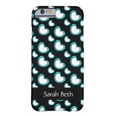 Cute iPhone Case, Aqua & White Hearts on Black, personalize with your name on the matching black ribbon across the bottom