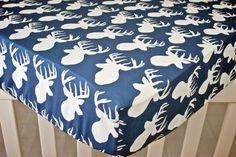 READY TO SHIP Navy Blue Deer Antler Crib Sheet by modifiedtot, $60.00
