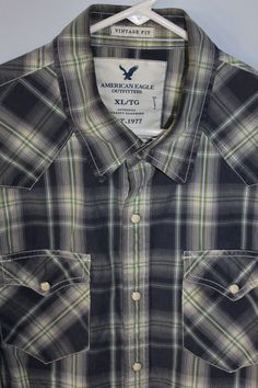 5f8a06df American Eagle White Pearl Snaps Shirt in Blue Plaid ~ Mens XL Vintage Fit  #AmericanEagleOutfitters