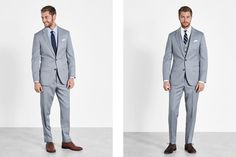 Find the right suit color for your look with our simple guide to men's wedding suits, complete with tips and inspiration for choosing wedding suits for men. Black Suit Wedding, Wedding Jacket, Black Tux, Wedding Men, Wedding Groom, Wedding Suits, Celebrity Wedding Photos, Celebrity Weddings, Groom Outfit