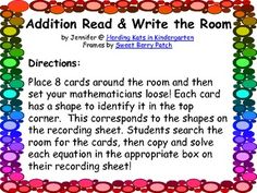 Here's a fun Read & Write the Room Math activity that corresponds to Common Core 1.OA.6. Add and subtract within 20, demonstrating fluency for addition and subtraction within 10. AND K.OA.5. Fluently add and subtract within 5.Come by my blog, Herding Kats in Kindergarten, for more ideas, tips and freebies!