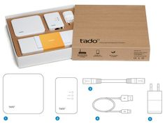 tado°: The connected heating system  tado° is a connected heating system. It replaces an existing thermostat on the wall or is attached directly to the heating boiler. It communicates with your smartphone using your home internet connection.