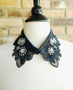 Crystals, Bead and Pearl Embellished Detachable Collar in Black. Flowers Collar…