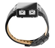 This unique watches is called Diesel No Face or if you prefer the Diesel DZ 9044. This luxury watch is constructed from durable solid stainless steel with a bold black ion-plated finish and a matching black leather band, and is water resistant up to 10 ATM (about 330 feet).