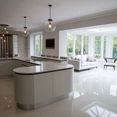 50 Astonishing Open Plan Kitchen And Living Room Design Ideas - Page 36 of 51 House Extension Design, Minimal Kitchen Design, Room Design, Open Plan Kitchen Diner, Contemporary Kitchen Design, Open Plan Kitchen, Conservatory Kitchen, Elegant Kitchens, Living Room And Kitchen Design