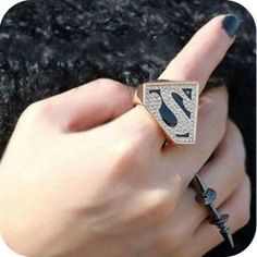 Fashion Triangle Geometry Super Man Sparkling Rings
