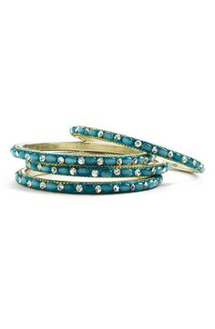 teal bangles. Wear one of these with one solid silver one - pretty!