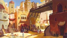 """Illustrations for digital projection in the theatre play """"Aladdin Jr. Fantasy City, Fantasy Places, Fantasy World, Environment Concept Art, Environment Design, Fantasy Landscape, Landscape Art, Fantasy Setting, Animation Background"""