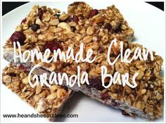 easy healthy, homemade granola bar recipe!  Best of all, it's clean! #heandsheeatclean
