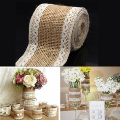 4pcs Rustic Lace Clip Wedding Wooden Pegs Clip Burlap Hessian Jute DIY Craft