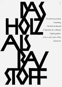 Armin Hofmann, affiche Das Holz als Bau Stoff, 1952. Accéder à l'article ici