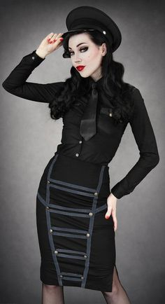 Black Military Pencil Skirt with Grey Trim by Restyle