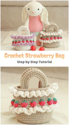 We are going to learn How to Crochet Strawberry Stitch Bag. Have you discovered the super cute 'Strawberry Crochet Stitch Pattern' before? What a unique appearance and texture it has. Did you see all the strawberries growing everywhere? On shoes, earrings, clothes… Every fashion accessory you can think of really ! So why not as a bag and a purse ! And why not making it grow yourself ! Free Crochet Bag, Crochet Tote, Crochet Purses, Knit Crochet, Crochet Strawberry, Cute Strawberry, Learn To Crochet, Crochet For Kids, Crochet Stitches Patterns
