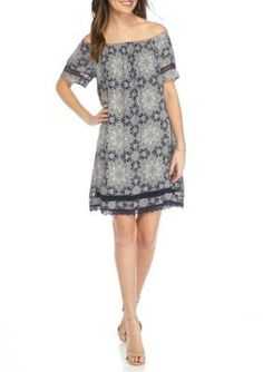 Luxology   Short Sleeve Peasant Dress with Embroidered Trim