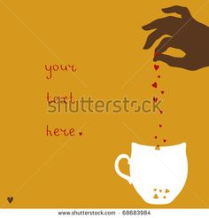 illustration of female hand putting hearts to cup