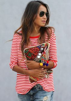 Striped Red Tee With Jeans And Shades