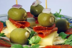 simple and super easy baby shower food ideas, dessert inspirations - cheese and cracker with olives and pepperoni