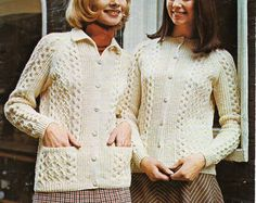"""vintage womens aran jackets knitting pattern PDF ladies cable cardigans 34-44"""" aran worsted 10ply Instant download"""