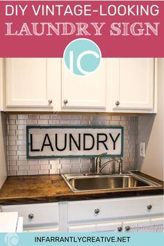 After my laundry room remodel, I wanted to add the pop of aqua color to that side of the space.  I decided a diy vintage laundry sign was just what it needed.  Since I had all the supplies at home, and a shop full of scrap wood it cost me nothing to make but made a big impact in the room. Follow along to see how I made this new sign look vintage. Diy House Projects, Diy Wood Projects, Decorating Your Home, Diy Home Decor, Knock Off Decor, Laundry Room Remodel, Laundry Signs, Vintage Laundry, Look Vintage