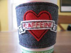 caffeine embroidered coffee cozy in felt