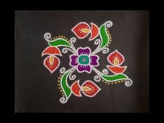 Simple Rangoli Design with Colours and dots for Festivals and Competitions Colorful Rangoli Designs, Rangoli Designs Diwali, Diwali Rangoli, Rangoli Designs Images, Beautiful Rangoli Designs, Easy Rangoli, Lotus Rangoli, Small Rangoli, Indian Rangoli