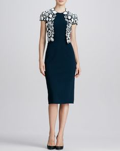 Oscar de la Renta Hand-Crocheted Floral Jacket & Sleeveless Knit Sheath Dress - Bergdorf Goodman
