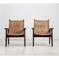 Image of Pair Van Beuren attributed armchairs with woven cord seating, Mexico