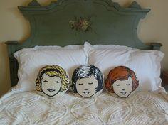 Pillow Cushion Girl Boy Children Baby Nursery Decor by vintagejane