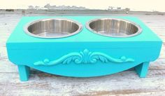 Marine Blue Elevated Dog Feeder Cat Bowl Holder Raised Feeding Station Seaside Beach Cottage French Country Decor