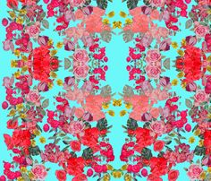 Antique Vintage Floral Print on Turquoise fabric by theartwerks on Spoonflower - custom fabric