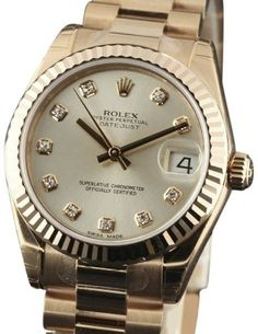 Rolex Datejust 178275 18K Rose Gold Silver Dial wDiamonds Automatic 31mm Womens Watch 2017