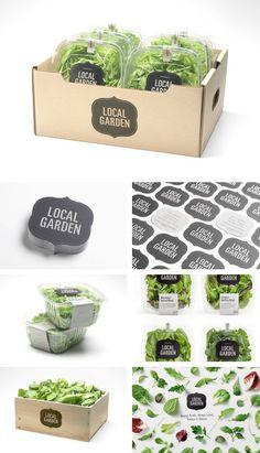 salad: Nice, neat and green. Looking very environmental friendly. Food Branding, Food Packaging Design, Packaging Design Inspiration, Brand Packaging, Branding Design, Food Design, Clean Recipes, Organic Recipes, Salad Packaging