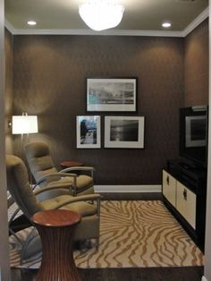 Just the right fit. If you have a small room that isn't large enough to be a bedroom and isn't small enough to be a home office, simply create your own den. Forfeit the traditional sofa and add two easy chairs for perfect TV viewing.