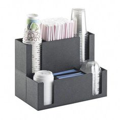 Shop Cal-Mil 2041 Classic Black Countertop Cup and Lid Organizer with Straw Holder. Unbeatable prices and exceptional customer service from WebstaurantStore. Coffee Tasting, Iced Coffee, Coffee Drinks, Coffee Tables, Coffee Jelly, Coffee Tin, Coffee Barista, Coffee Creamer, Vintage Coffee