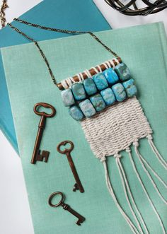 Make your own boho chic woven necklace. Get the easy step-by-step over at www.ABeautifulMess.com